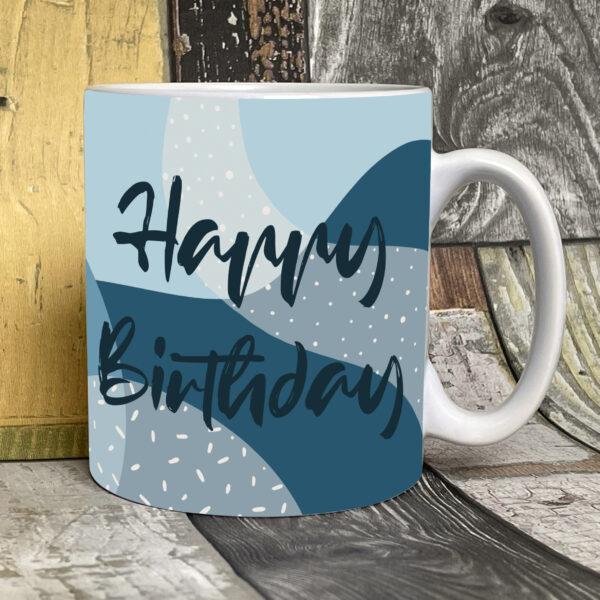 blue happy birthday mug on white