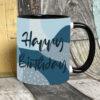 blue happy birthday mug on black