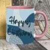 Blue happy birthday mug on pink