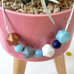 Charlie twiddle beads - Blue, white and copper beads