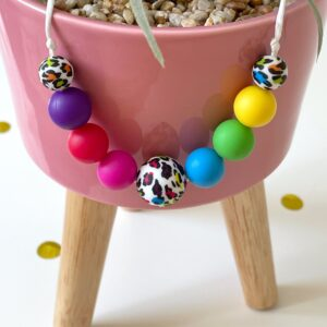 Rainbow beads with rainbow leopard print beads - Bracken