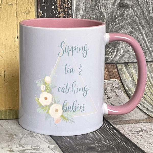 Blush sipping tea catching babies on pink